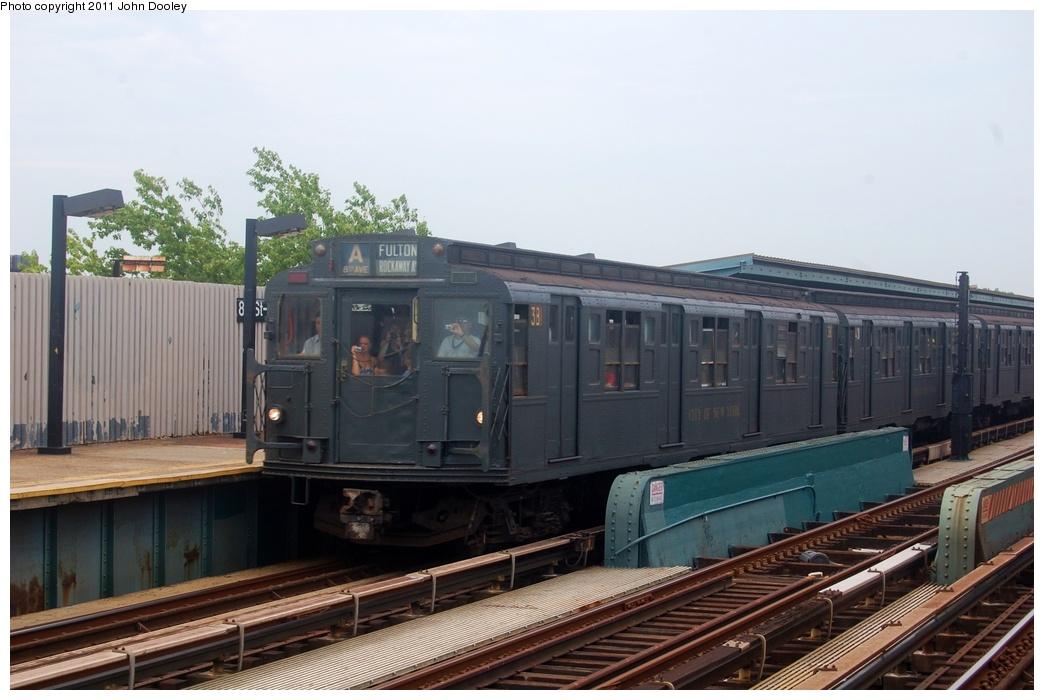 (268k, 1044x700)<br><b>Country:</b> United States<br><b>City:</b> New York<br><b>System:</b> New York City Transit<br><b>Line:</b> IND Fulton Street Line<br><b>Location:</b> 80th Street-Hudson Street<br><b>Route:</b> Transit Museum Nostalgia Train<br><b>Car:</b> R-1 (American Car & Foundry, 1930-1931) 381 <br><b>Photo by:</b> John Dooley<br><b>Date:</b> 7/23/2011<br><b>Viewed (this week/total):</b> 2 / 1262