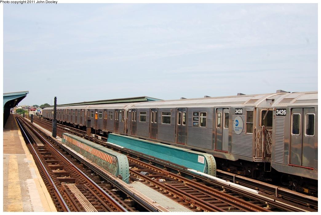 (303k, 1044x701)<br><b>Country:</b> United States<br><b>City:</b> New York<br><b>System:</b> New York City Transit<br><b>Line:</b> IND Fulton Street Line<br><b>Location:</b> 80th Street-Hudson Street<br><b>Route:</b> A<br><b>Car:</b> R-32 (Budd, 1964) 3428 <br><b>Photo by:</b> John Dooley<br><b>Date:</b> 7/23/2011<br><b>Viewed (this week/total):</b> 0 / 945