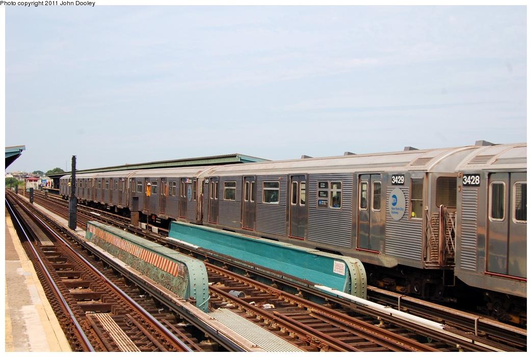 (307k, 1044x701)<br><b>Country:</b> United States<br><b>City:</b> New York<br><b>System:</b> New York City Transit<br><b>Line:</b> IND Fulton Street Line<br><b>Location:</b> 80th Street-Hudson Street<br><b>Route:</b> A<br><b>Car:</b> R-32 (Budd, 1964) 3429 <br><b>Photo by:</b> John Dooley<br><b>Date:</b> 7/23/2011<br><b>Viewed (this week/total):</b> 0 / 1047