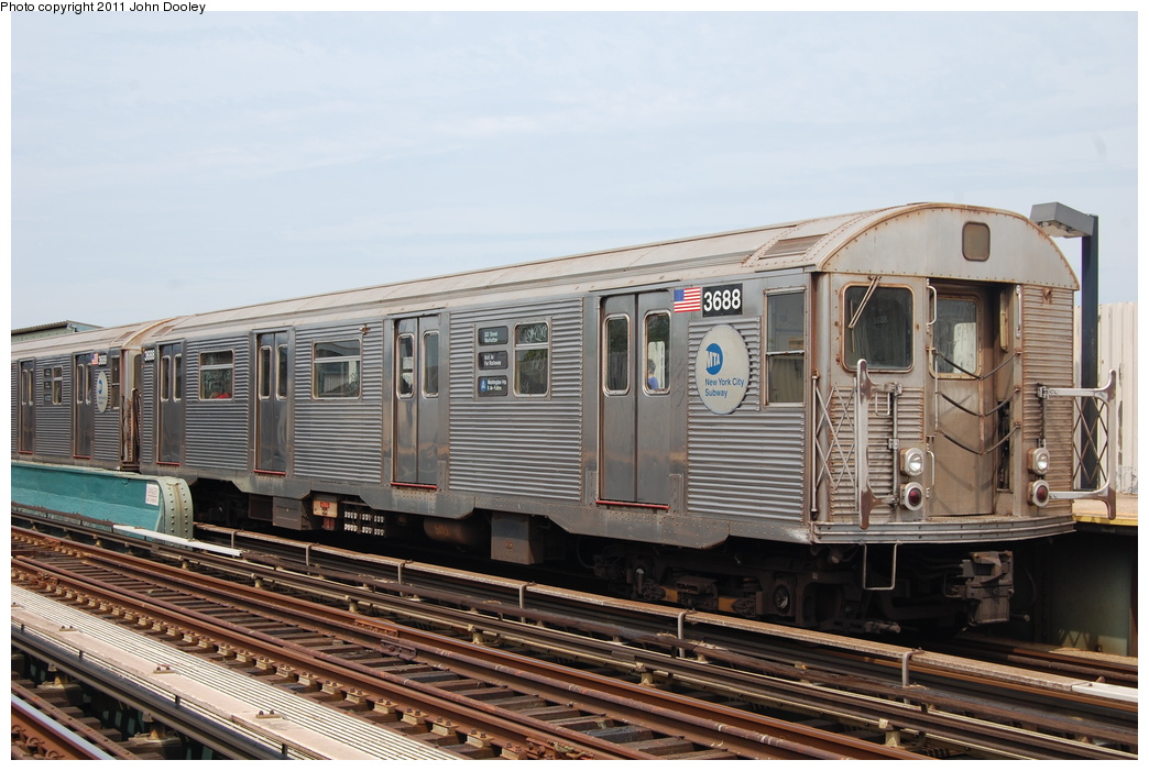 (341k, 1044x701)<br><b>Country:</b> United States<br><b>City:</b> New York<br><b>System:</b> New York City Transit<br><b>Line:</b> IND Fulton Street Line<br><b>Location:</b> 80th Street-Hudson Street<br><b>Route:</b> A<br><b>Car:</b> R-32 (Budd, 1964) 3688 <br><b>Photo by:</b> John Dooley<br><b>Date:</b> 7/23/2011<br><b>Viewed (this week/total):</b> 0 / 1139