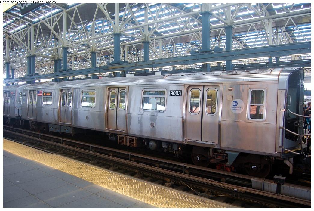 (383k, 1044x701)<br><b>Country:</b> United States<br><b>City:</b> New York<br><b>System:</b> New York City Transit<br><b>Location:</b> Coney Island/Stillwell Avenue<br><b>Route:</b> Q<br><b>Car:</b> R-160B (Option 1) (Kawasaki, 2008-2009) 9003 <br><b>Photo by:</b> John Dooley<br><b>Date:</b> 7/23/2011<br><b>Viewed (this week/total):</b> 0 / 1402