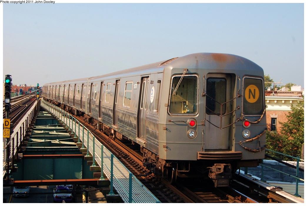 (313k, 1044x701)<br><b>Country:</b> United States<br><b>City:</b> New York<br><b>System:</b> New York City Transit<br><b>Line:</b> BMT West End Line<br><b>Location:</b> 62nd Street<br><b>Route:</b> N reroute<br><b>Car:</b> R-68A (Kawasaki, 1988-1989) 5078 <br><b>Photo by:</b> John Dooley<br><b>Date:</b> 7/23/2011<br><b>Viewed (this week/total):</b> 1 / 1554