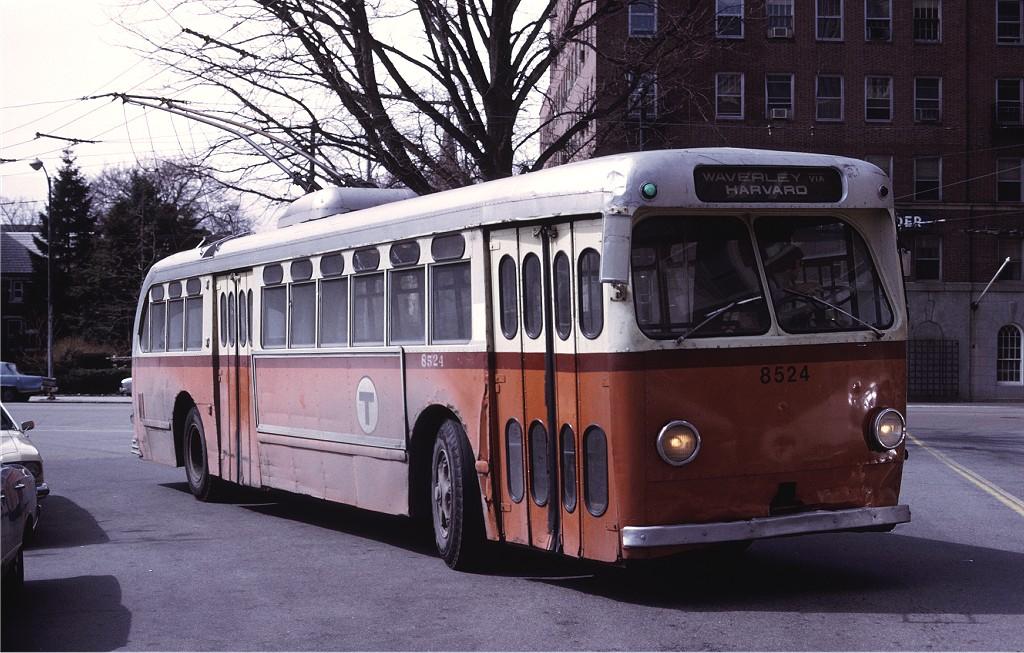 (212k, 1024x653)<br><b>Country:</b> United States<br><b>City:</b> Boston, MA<br><b>System:</b> MBTA Boston<br><b>Line:</b> MBTA Trolleybus (71,72,73)<br><b>Car:</b> MBTA Trolleybus 8524 <br><b>Photo by:</b> Ed McKernan<br><b>Collection of:</b> Joe Testagrose<br><b>Date:</b> 3/1975<br><b>Viewed (this week/total):</b> 2 / 453