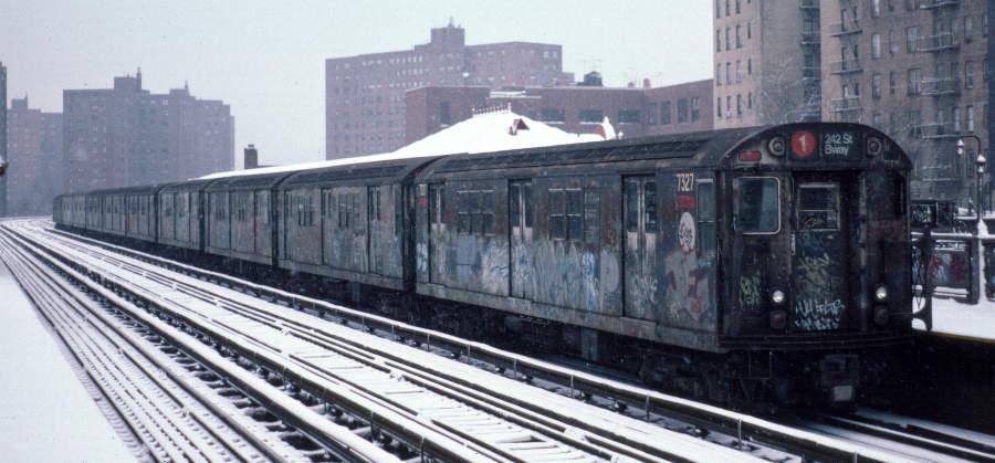 (58k, 900x419)<br><b>Country:</b> United States<br><b>City:</b> New York<br><b>System:</b> New York City Transit<br><b>Line:</b> IRT West Side Line<br><b>Location:</b> 231st Street<br><b>Route:</b> 1<br><b>Car:</b> R-22 (St. Louis, 1957-58) 7327 <br><b>Photo by:</b> Robert Callahan<br><b>Date:</b> 2/2/1985<br><b>Viewed (this week/total):</b> 2 / 1492