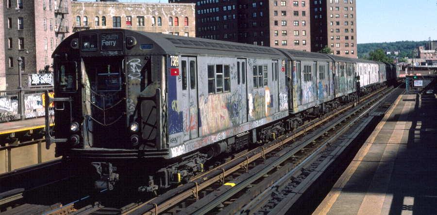 (64k, 900x443)<br><b>Country:</b> United States<br><b>City:</b> New York<br><b>System:</b> New York City Transit<br><b>Line:</b> IRT West Side Line<br><b>Location:</b> 225th Street<br><b>Route:</b> 1<br><b>Car:</b> R-22 (St. Louis, 1957-58) 7389 <br><b>Photo by:</b> Robert Callahan<br><b>Date:</b> 10/6/1984<br><b>Viewed (this week/total):</b> 1 / 1487