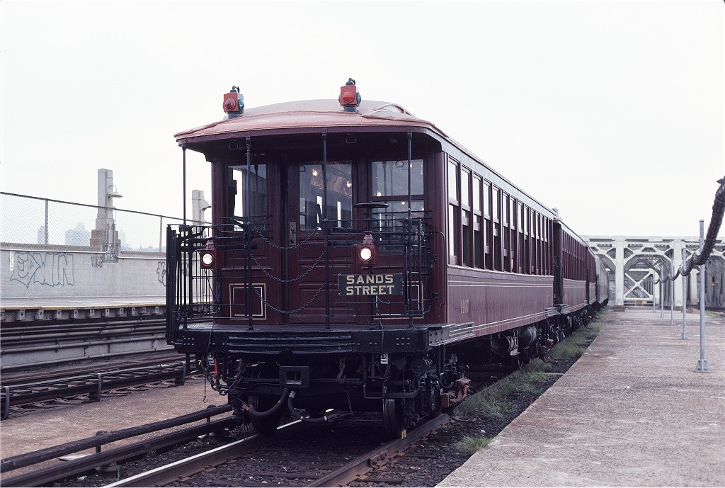 (193k, 1024x689)<br><b>Country:</b> United States<br><b>City:</b> New York<br><b>System:</b> New York City Transit<br><b>Line:</b> IND Crosstown Line<br><b>Location:</b> Smith/9th Street<br><b>Route:</b> Fan Trip<br><b>Car:</b> BMT Elevated Gate Car 1407/1273/1404 <br><b>Photo by:</b> Aron Eisenpress<br><b>Collection of:</b> Joe Testagrose<br><b>Date:</b> 8/31/1979<br><b>Viewed (this week/total):</b> 3 / 1218