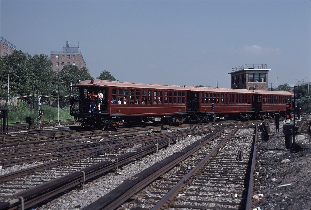 (226k, 1024x691)<br><b>Country:</b> United States<br><b>City:</b> New York<br><b>System:</b> New York City Transit<br><b>Location:</b> Coney Island Yard<br><b>Car:</b> BMT Elevated Gate Car 1407/1273/1404 <br><b>Photo by:</b> Steve Zabel<br><b>Collection of:</b> Joe Testagrose<br><b>Date:</b> 8/31/1979<br><b>Viewed (this week/total):</b> 2 / 965