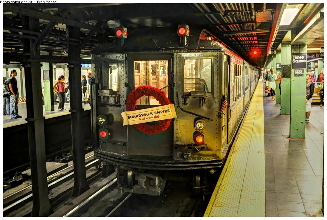 (301k, 1044x702)<br><b>Country:</b> United States<br><b>City:</b> New York<br><b>System:</b> New York City Transit<br><b>Line:</b> IRT West Side Line<br><b>Location:</b> Times Square/42nd Street<br><b>Route:</b> Fan Trip<br><b>Car:</b> Low-V (Museum Train) 5443 <br><b>Photo by:</b> Richard Panse<br><b>Date:</b> 9/11/2011<br><b>Notes:</b> <I>Boardwalk Empire</i> promotional service.<br><b>Viewed (this week/total):</b> 1 / 2022