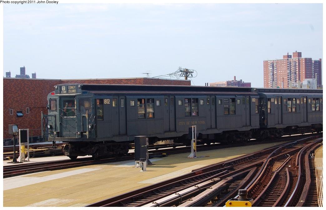 (285k, 1044x671)<br><b>Country:</b> United States<br><b>City:</b> New York<br><b>System:</b> New York City Transit<br><b>Location:</b> Coney Island/Stillwell Avenue<br><b>Route:</b> Fan Trip<br><b>Car:</b> R-9 (Pressed Steel, 1940) 1802 <br><b>Photo by:</b> John Dooley<br><b>Date:</b> 7/23/2011<br><b>Viewed (this week/total):</b> 0 / 1466