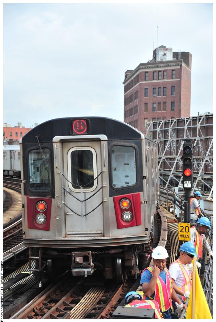 (346k, 701x1044)<br><b>Country:</b> United States<br><b>City:</b> New York<br><b>System:</b> New York City Transit<br><b>Line:</b> IRT White Plains Road Line<br><b>Location:</b> Simpson Street<br><b>Route:</b> 5<br><b>Car:</b> R-142 (Option Order, Bombardier, 2002-2003) 7056 <br><b>Photo by:</b> David Pirmann<br><b>Date:</b> 9/24/2011<br><b>Viewed (this week/total):</b> 3 / 1574