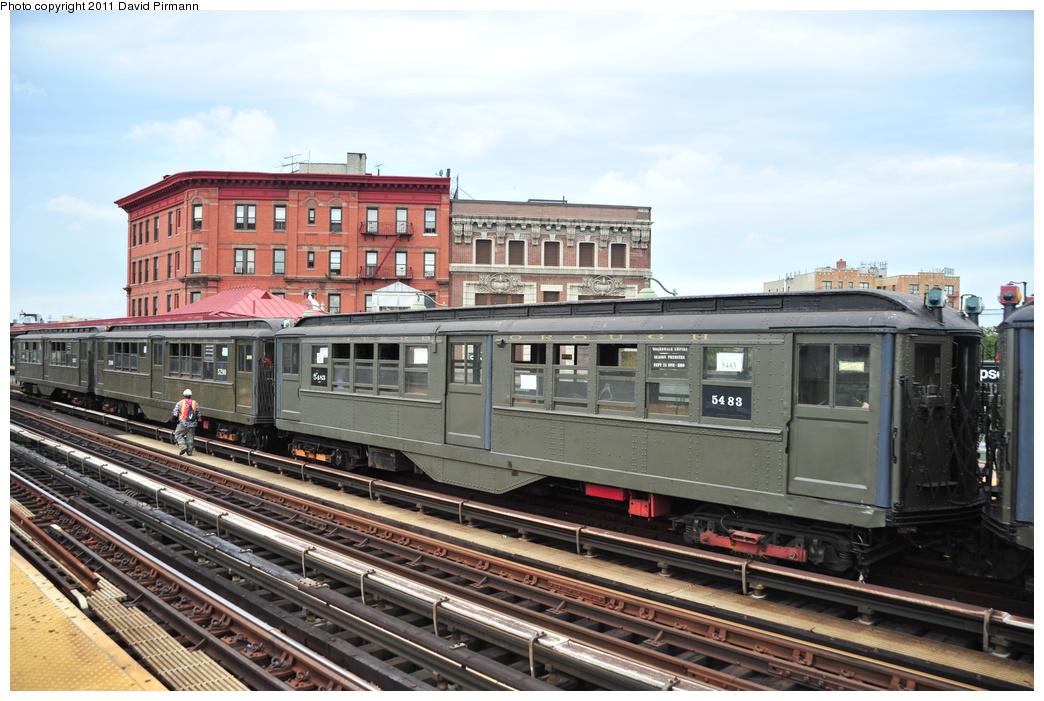 (358k, 1044x701)<br><b>Country:</b> United States<br><b>City:</b> New York<br><b>System:</b> New York City Transit<br><b>Line:</b> IRT White Plains Road Line<br><b>Location:</b> Simpson Street<br><b>Route:</b> Fan Trip<br><b>Car:</b> Low-V (Museum Train) 5483 <br><b>Photo by:</b> David Pirmann<br><b>Date:</b> 9/24/2011<br><b>Viewed (this week/total):</b> 1 / 1285
