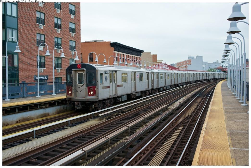 (307k, 1044x702)<br><b>Country:</b> United States<br><b>City:</b> New York<br><b>System:</b> New York City Transit<br><b>Line:</b> IRT White Plains Road Line<br><b>Location:</b> Freeman Street<br><b>Route:</b> 5<br><b>Car:</b> R-142 (Primary Order, Bombardier, 1999-2002) 6741 <br><b>Photo by:</b> Richard Panse<br><b>Date:</b> 9/25/2011<br><b>Viewed (this week/total):</b> 0 / 1767
