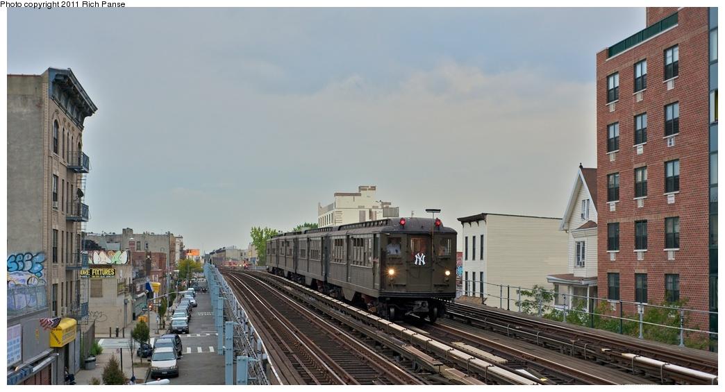 (207k, 1044x565)<br><b>Country:</b> United States<br><b>City:</b> New York<br><b>System:</b> New York City Transit<br><b>Line:</b> IRT White Plains Road Line<br><b>Location:</b> Freeman Street<br><b>Route:</b> Fan Trip<br><b>Car:</b> Low-V (Museum Train) 5443 <br><b>Photo by:</b> Richard Panse<br><b>Date:</b> 9/25/2011<br><b>Notes:</b> Boardwalk Empire promotional service.<br><b>Viewed (this week/total):</b> 2 / 1655