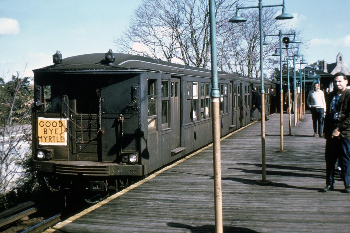 (510k, 1200x800)<br><b>Country:</b> United States<br><b>City:</b> New York<br><b>System:</b> New York City Transit<br><b>Line:</b> BMT Myrtle Avenue Line<br><b>Location:</b> Metropolitan Avenue<br><b>Route:</b> Fan Trip<br><b>Car:</b> BMT Q 1629 <br><b>Photo by:</b> Doug Grotjahn<br><b>Collection of:</b> David Pirmann<br><b>Date:</b> 10/5/1969<br><b>Notes:</b> Last day of Myrtle El service.<br><b>Viewed (this week/total):</b> 0 / 7700