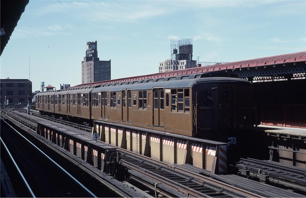 (189k, 1024x665)<br><b>Country:</b> United States<br><b>City:</b> New York<br><b>System:</b> New York City Transit<br><b>Line:</b> BMT Astoria Line<br><b>Location:</b> 39th/Beebe Aves.<br><b>Route:</b> Fan Trip<br><b>Car:</b> BMT A/B-Type Standard 2390 <br><b>Photo by:</b> Joe Testagrose<br><b>Date:</b> 4/16/1977<br><b>Viewed (this week/total):</b> 1 / 1427