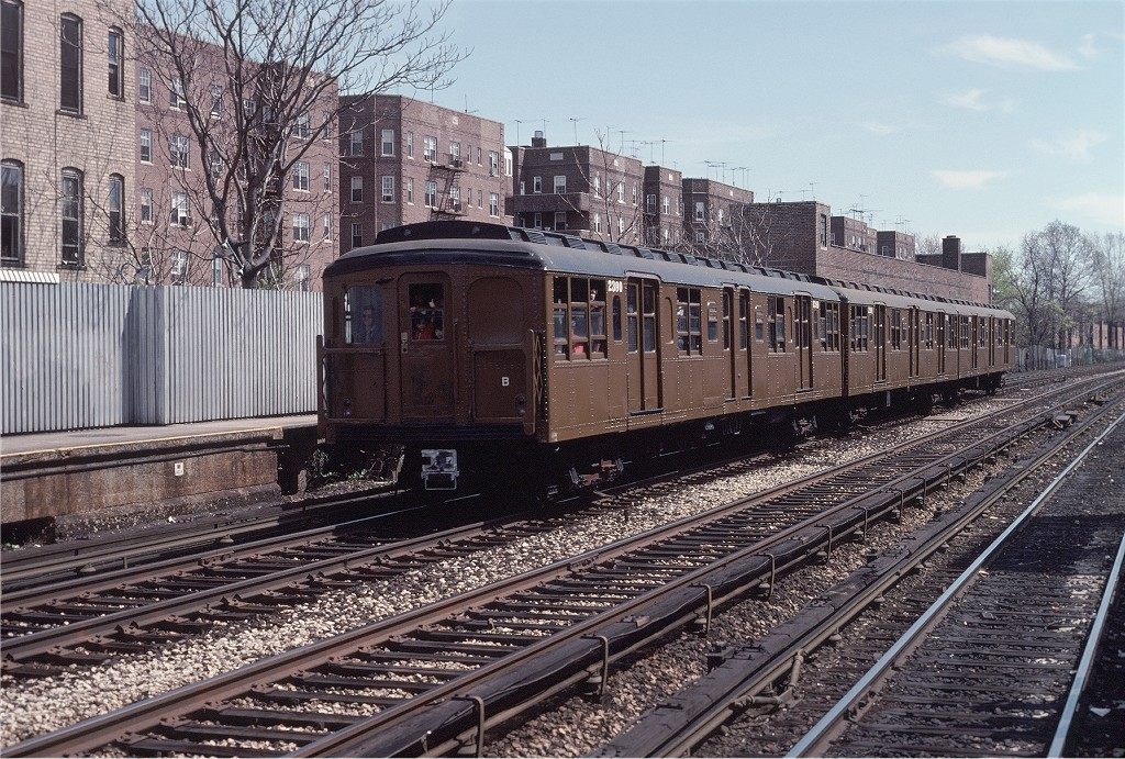 (298k, 1024x691)<br><b>Country:</b> United States<br><b>City:</b> New York<br><b>System:</b> New York City Transit<br><b>Line:</b> BMT Brighton Line<br><b>Location:</b> Avenue H<br><b>Route:</b> Fan Trip<br><b>Car:</b> BMT A/B-Type Standard 2390 <br><b>Photo by:</b> Joe Testagrose<br><b>Date:</b> 4/16/1977<br><b>Viewed (this week/total):</b> 2 / 1444