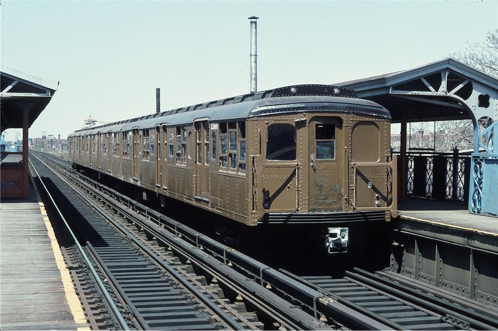 (215k, 1024x681)<br><b>Country:</b> United States<br><b>City:</b> New York<br><b>System:</b> New York City Transit<br><b>Line:</b> BMT Canarsie Line<br><b>Location:</b> Livonia Avenue<br><b>Route:</b> Fan Trip<br><b>Car:</b> BMT A/B-Type Standard 2390 <br><b>Photo by:</b> Doug Grotjahn<br><b>Collection of:</b> Joe Testagrose<br><b>Date:</b> 4/30/1977<br><b>Viewed (this week/total):</b> 0 / 1378