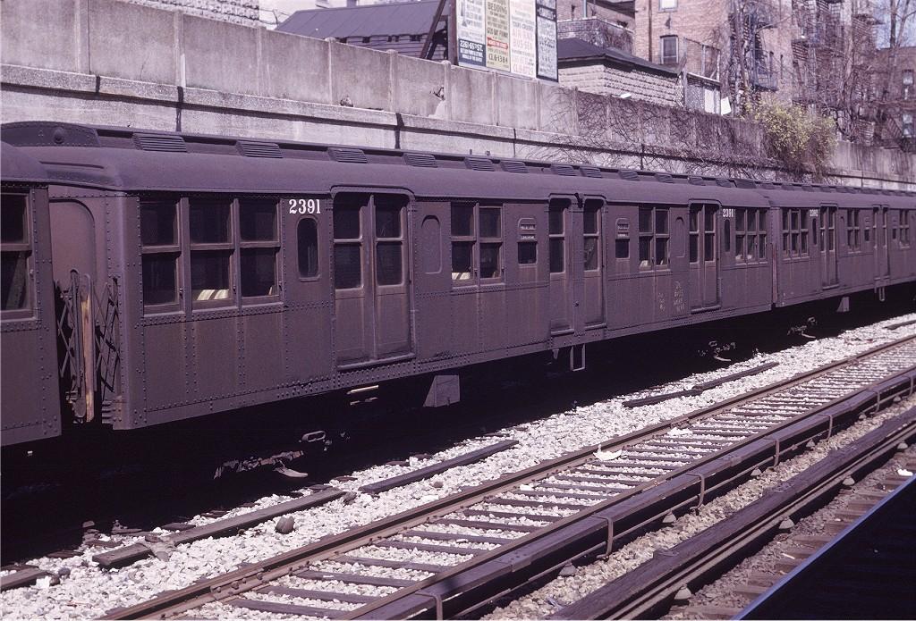 (279k, 1024x695)<br><b>Country:</b> United States<br><b>City:</b> New York<br><b>System:</b> New York City Transit<br><b>Line:</b> BMT Sea Beach Line<br><b>Location:</b> Bay Parkway (22nd Avenue)<br><b>Route:</b> Fan Trip<br><b>Car:</b> BMT A/B-Type Standard 2391 <br><b>Photo by:</b> Joe Testagrose<br><b>Date:</b> 4/13/1969<br><b>Viewed (this week/total):</b> 0 / 1153