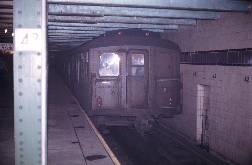 (154k, 1024x672)<br><b>Country:</b> United States<br><b>City:</b> New York<br><b>System:</b> New York City Transit<br><b>Line:</b> IND 8th Avenue Line<br><b>Location:</b> 42nd Street/Port Authority Bus Terminal (Lower Level)<br><b>Route:</b> Fan Trip<br><b>Car:</b> BMT A/B-Type Standard 2392 <br><b>Photo by:</b> Doug Grotjahn<br><b>Collection of:</b> Joe Testagrose<br><b>Date:</b> 8/23/1969<br><b>Viewed (this week/total):</b> 1 / 4181