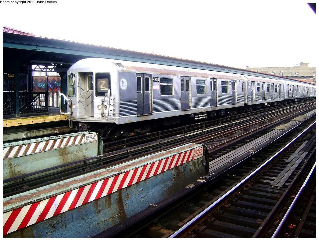 (373k, 1044x788)<br><b>Country:</b> United States<br><b>City:</b> New York<br><b>System:</b> New York City Transit<br><b>Line:</b> BMT Nassau Street-Jamaica Line<br><b>Location:</b> Flushing Avenue<br><b>Route:</b> Z<br><b>Car:</b> R-42 (St. Louis, 1969-1970) 4808 <br><b>Photo by:</b> John Dooley<br><b>Date:</b> 5/24/2011<br><b>Viewed (this week/total):</b> 2 / 1251