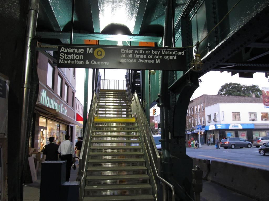(124k, 1024x768)<br><b>Country:</b> United States<br><b>City:</b> New York<br><b>System:</b> New York City Transit<br><b>Line:</b> BMT Brighton Line<br><b>Location:</b> Avenue M<br><b>Photo by:</b> Robbie Rosenfeld<br><b>Date:</b> 9/13/2011<br><b>Notes:</b> New stairs.<br><b>Viewed (this week/total):</b> 1 / 2012