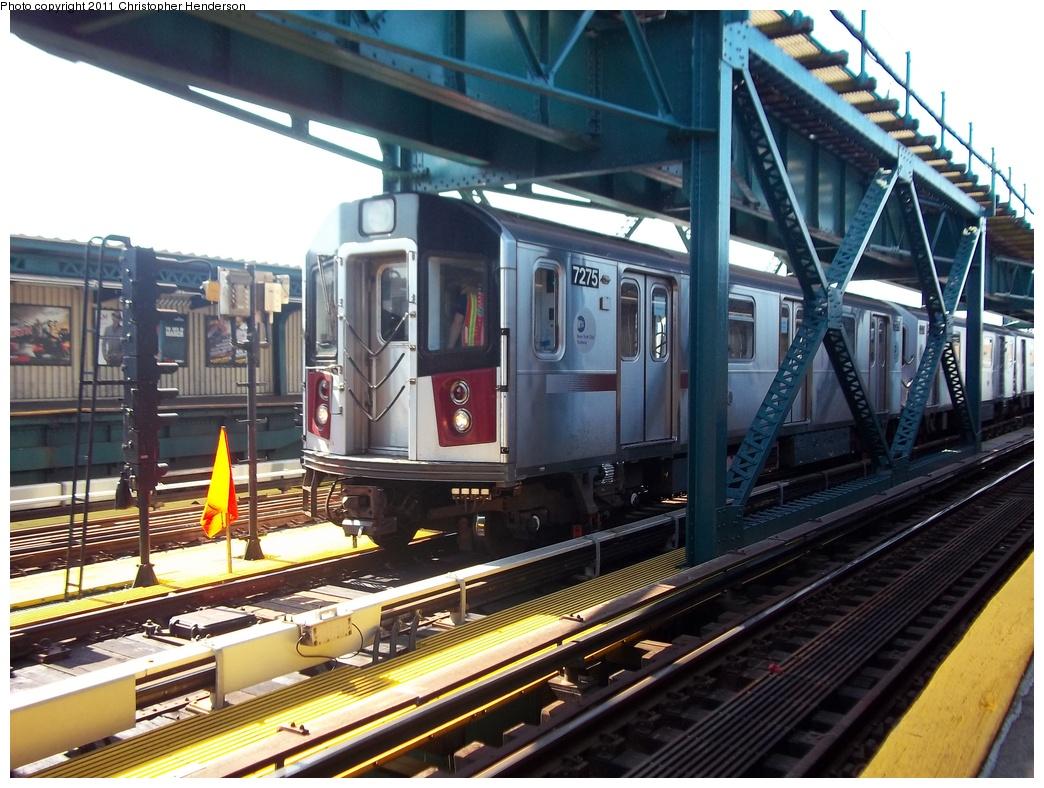 (355k, 1044x788)<br><b>Country:</b> United States<br><b>City:</b> New York<br><b>System:</b> New York City Transit<br><b>Line:</b> IRT Flushing Line<br><b>Location:</b> 111th Street<br><b>Route:</b> Testing<br><b>Car:</b> R-188 (R-142A Conversion, Kawasaki, 1999-2002) 7275 <br><b>Photo by:</b> Christopher Henderson<br><b>Date:</b> 9/30/2011<br><b>Viewed (this week/total):</b> 1 / 2891