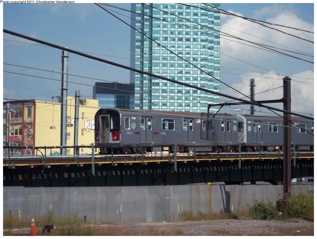 (344k, 1044x788)<br><b>Country:</b> United States<br><b>City:</b> New York<br><b>System:</b> New York City Transit<br><b>Line:</b> IRT Flushing Line<br><b>Location:</b> Hunters Point Avenue<br><b>Route:</b> Testing<br><b>Car:</b> R-142A (Primary Order, Kawasaki, 1999-2002) 7506 <br><b>Photo by:</b> Christopher Henderson<br><b>Date:</b> 9/30/2011<br><b>Viewed (this week/total):</b> 1 / 2618