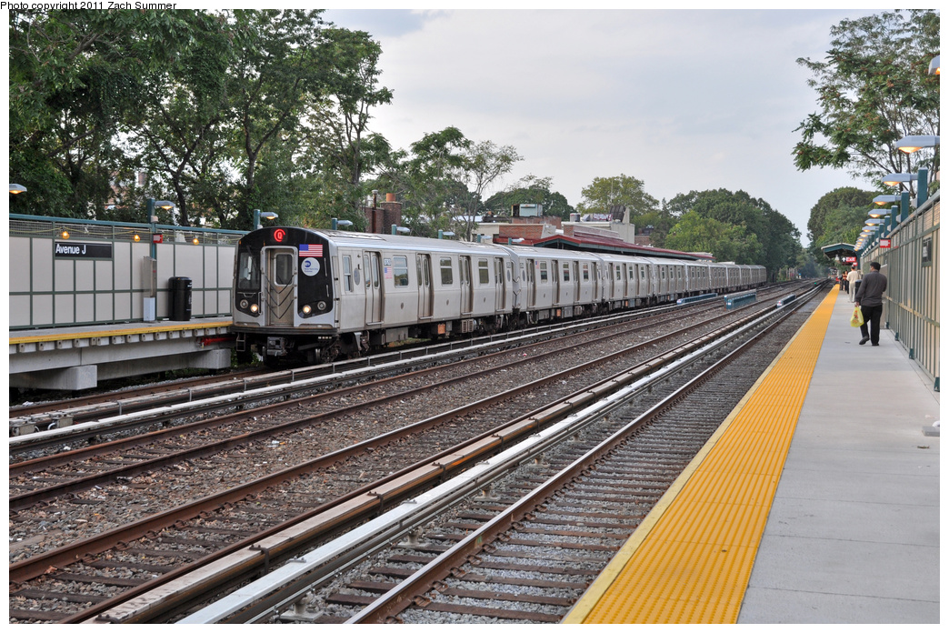 (464k, 1044x696)<br><b>Country:</b> United States<br><b>City:</b> New York<br><b>System:</b> New York City Transit<br><b>Line:</b> BMT Brighton Line<br><b>Location:</b> Avenue J<br><b>Route:</b> Q<br><b>Car:</b> R-160B (Kawasaki, 2005-2008) 8763 <br><b>Photo by:</b> Zach Summer<br><b>Date:</b> 9/30/2011<br><b>Viewed (this week/total):</b> 1 / 1643