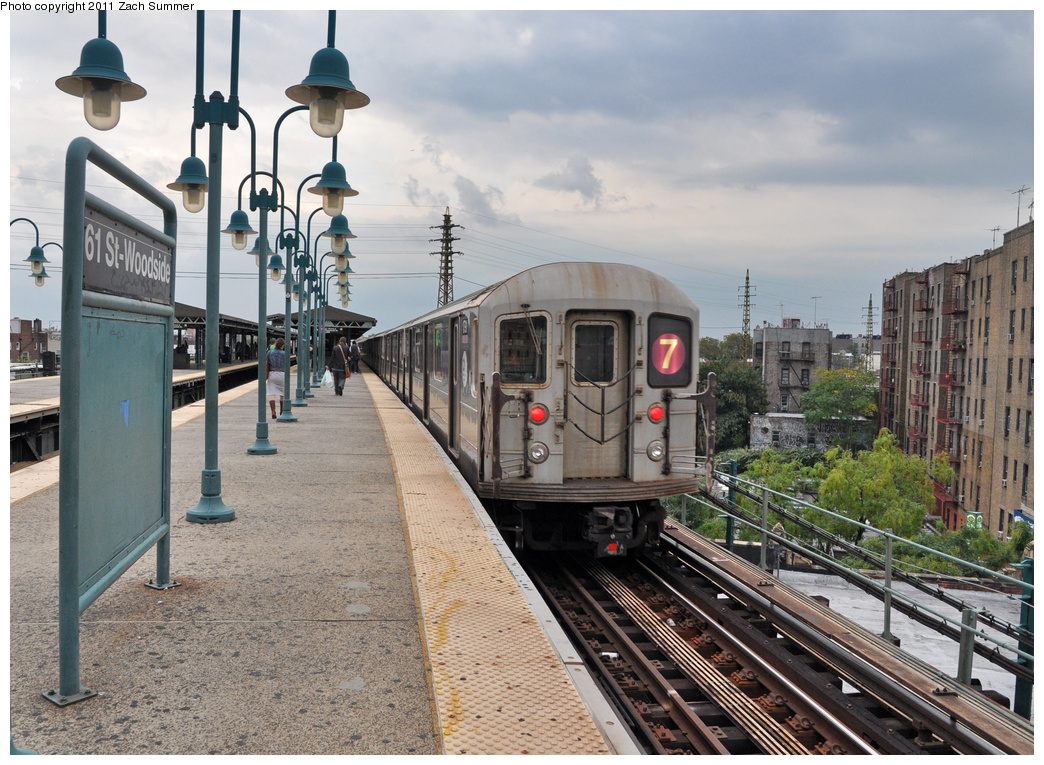 (432k, 1044x765)<br><b>Country:</b> United States<br><b>City:</b> New York<br><b>System:</b> New York City Transit<br><b>Line:</b> IRT Flushing Line<br><b>Location:</b> 61st Street/Woodside<br><b>Route:</b> 7<br><b>Car:</b> R-62A (Bombardier, 1984-1987) 1791 <br><b>Photo by:</b> Zach Summer<br><b>Date:</b> 9/30/2011<br><b>Viewed (this week/total):</b> 2 / 1418