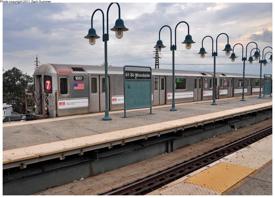 (401k, 1044x753)<br><b>Country:</b> United States<br><b>City:</b> New York<br><b>System:</b> New York City Transit<br><b>Line:</b> IRT Flushing Line<br><b>Location:</b> 61st Street/Woodside<br><b>Route:</b> 7<br><b>Car:</b> R-62A (Bombardier, 1984-1987) 1661 <br><b>Photo by:</b> Zach Summer<br><b>Date:</b> 9/30/2011<br><b>Viewed (this week/total):</b> 1 / 1696