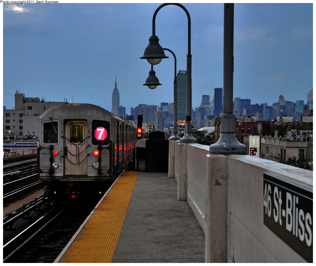 (443k, 1044x881)<br><b>Country:</b> United States<br><b>City:</b> New York<br><b>System:</b> New York City Transit<br><b>Line:</b> IRT Flushing Line<br><b>Location:</b> 46th Street/Bliss Street<br><b>Route:</b> 7<br><b>Car:</b> R-62A (Bombardier, 1984-1987) 1964 <br><b>Photo by:</b> Zach Summer<br><b>Date:</b> 9/30/2011<br><b>Viewed (this week/total):</b> 2 / 1913