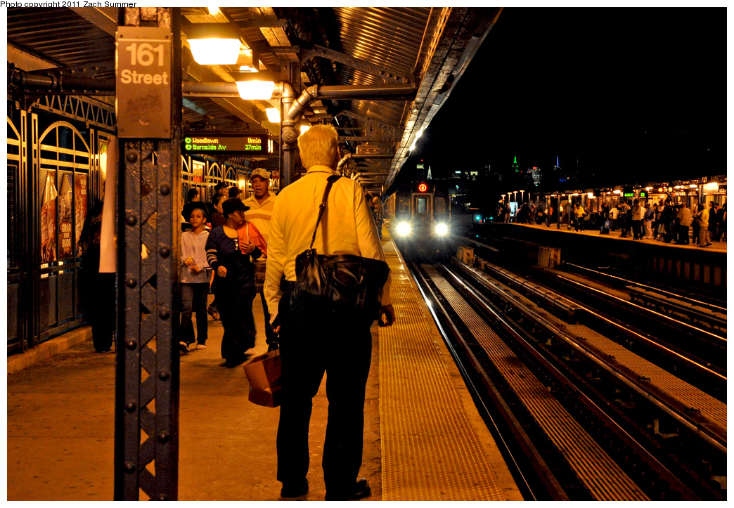 (476k, 1044x723)<br><b>Country:</b> United States<br><b>City:</b> New York<br><b>System:</b> New York City Transit<br><b>Line:</b> IRT Woodlawn Line<br><b>Location:</b> 161st Street-River Avenue (Yankee Stadium)<br><b>Route:</b> 4<br><b>Car:</b> R-142A (Supplemental Order, Kawasaki, 2003-2004) 7785 <br><b>Photo by:</b> Zach Summer<br><b>Date:</b> 9/30/2011<br><b>Viewed (this week/total):</b> 0 / 1465