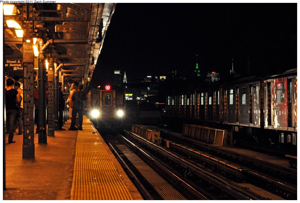 (372k, 1044x706)<br><b>Country:</b> United States<br><b>City:</b> New York<br><b>System:</b> New York City Transit<br><b>Line:</b> IRT Woodlawn Line<br><b>Location:</b> 161st Street-River Avenue (Yankee Stadium)<br><b>Route:</b> 4<br><b>Car:</b> R-142 (Option Order, Bombardier, 2002-2003) 7160 <br><b>Photo by:</b> Zach Summer<br><b>Date:</b> 9/30/2011<br><b>Viewed (this week/total):</b> 1 / 1415