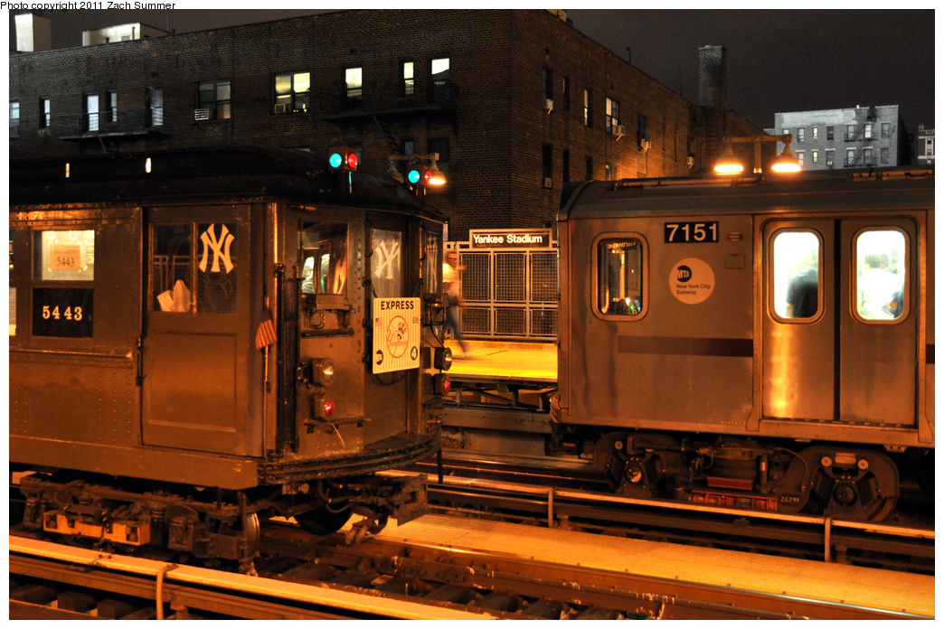 (410k, 1044x696)<br><b>Country:</b> United States<br><b>City:</b> New York<br><b>System:</b> New York City Transit<br><b>Line:</b> IRT Woodlawn Line<br><b>Location:</b> 161st Street-River Avenue (Yankee Stadium)<br><b>Route:</b> Fan Trip<br><b>Car:</b> Low-V (Museum Train) 5443 <br><b>Photo by:</b> Zach Summer<br><b>Date:</b> 9/30/2011<br><b>Notes:</b> Yankee Special. With R142 7151<br><b>Viewed (this week/total):</b> 1 / 1404