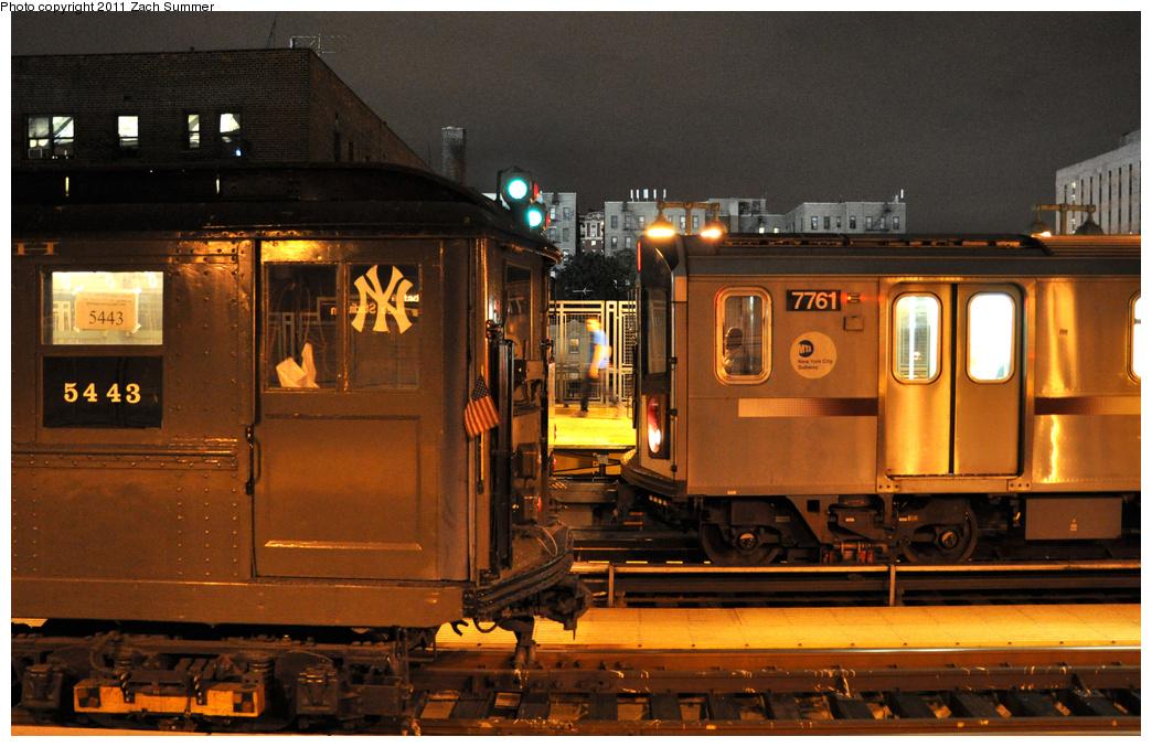(390k, 1044x677)<br><b>Country:</b> United States<br><b>City:</b> New York<br><b>System:</b> New York City Transit<br><b>Line:</b> IRT Woodlawn Line<br><b>Location:</b> 161st Street-River Avenue (Yankee Stadium)<br><b>Route:</b> Fan Trip<br><b>Car:</b> Low-V (Museum Train) 5443 <br><b>Photo by:</b> Zach Summer<br><b>Date:</b> 9/30/2011<br><b>Notes:</b> Yankee Special. With R142A 7761<br><b>Viewed (this week/total):</b> 1 / 1712