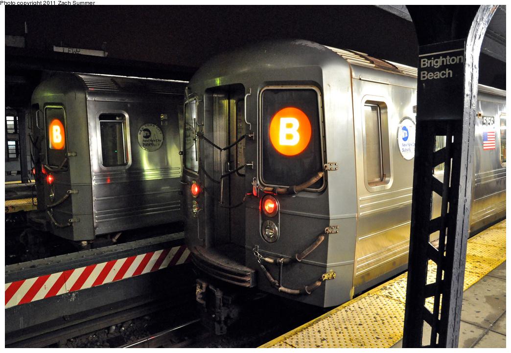 (391k, 1044x722)<br><b>Country:</b> United States<br><b>City:</b> New York<br><b>System:</b> New York City Transit<br><b>Line:</b> BMT Brighton Line<br><b>Location:</b> Brighton Beach<br><b>Route:</b> B<br><b>Car:</b> R-68A (Kawasaki, 1988-1989) 5156 <br><b>Photo by:</b> Zach Summer<br><b>Date:</b> 10/13/2011<br><b>Viewed (this week/total):</b> 2 / 1117