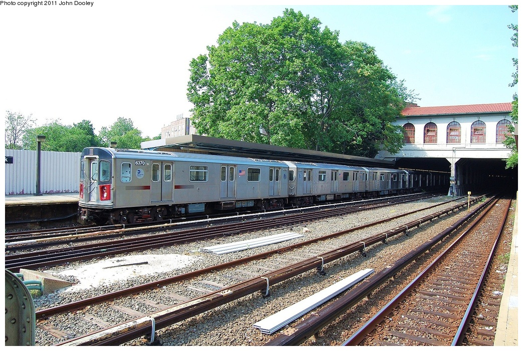 (460k, 1044x701)<br><b>Country:</b> United States<br><b>City:</b> New York<br><b>System:</b> New York City Transit<br><b>Line:</b> IRT Dyre Ave. Line<br><b>Location:</b> Morris Park<br><b>Route:</b> 5<br><b>Car:</b> R-142 (Primary Order, Bombardier, 1999-2002) 6370 <br><b>Photo by:</b> John Dooley<br><b>Date:</b> 6/28/2011<br><b>Viewed (this week/total):</b> 4 / 1699
