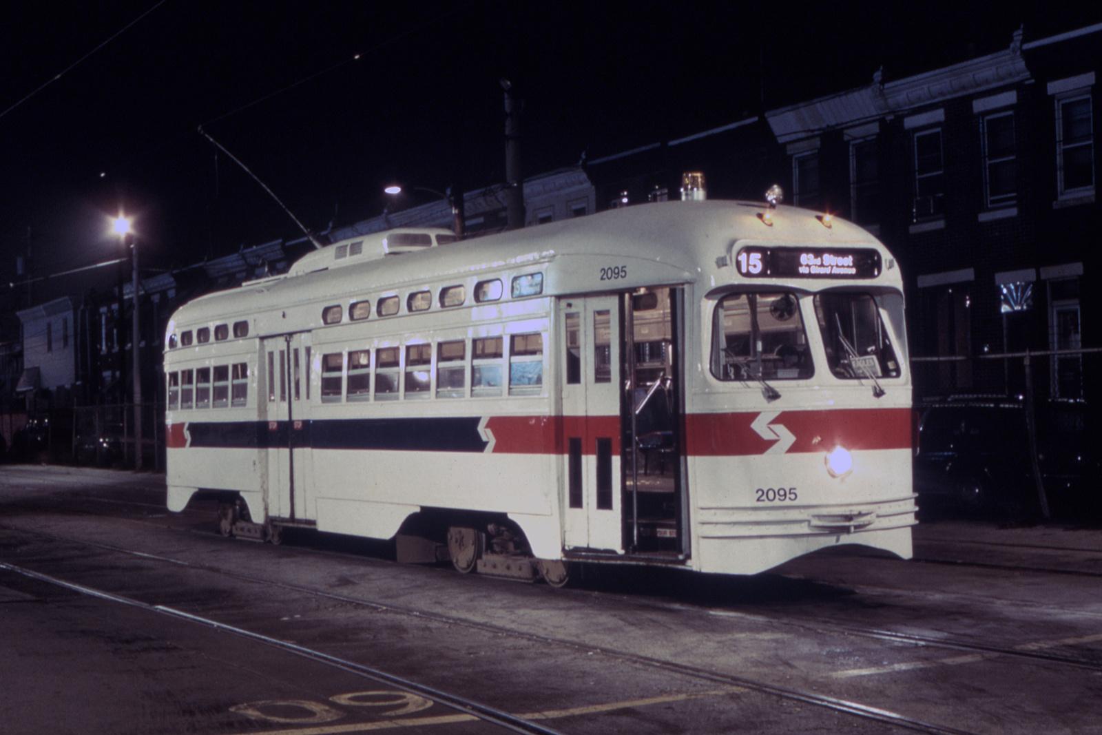 (574k, 1600x1067)<br><b>Country:</b> United States<br><b>City:</b> Philadelphia, PA<br><b>System:</b> SEPTA (or Predecessor)<br><b>Line:</b> Rt. 15-Girard<br><b>Location:</b> Richmond/Westmoreland<br><b>Car:</b> PTC/SEPTA Postwar All-electric PCC (St.Louis, 1948) 2095 <br><b>Photo by:</b> Glenn L. Rowe<br><b>Collection of:</b> David Pirmann<br><b>Date:</b> 9/4/1992<br><b>Viewed (this week/total):</b> 0 / 12977