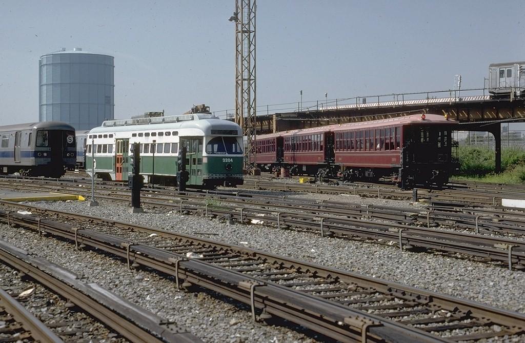 (239k, 1024x669)<br><b>Country:</b> United States<br><b>City:</b> New York<br><b>System:</b> New York City Transit<br><b>Location:</b> Coney Island Yard<br><b>Car:</b> MBTA/BSRy PCC Post-War All Electric (Pullman-Standard, 1946) 3204 <br><b>Photo by:</b> Steve Zabel<br><b>Collection of:</b> Joe Testagrose<br><b>Date:</b> 8/31/1979<br><b>Viewed (this week/total):</b> 1 / 4072