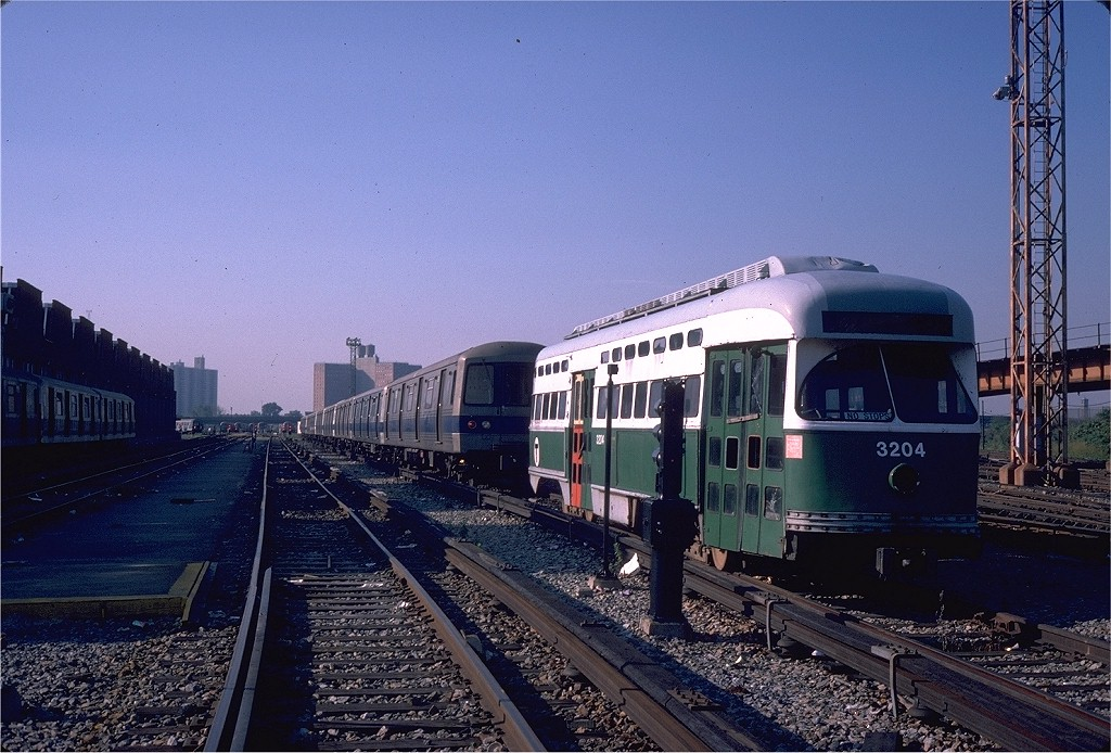 (225k, 1024x694)<br><b>Country:</b> United States<br><b>City:</b> New York<br><b>System:</b> New York City Transit<br><b>Location:</b> Coney Island Yard<br><b>Car:</b> MBTA/BSRy PCC Post-War All Electric (Pullman-Standard, 1946) 3204 <br><b>Photo by:</b> Steve Zabel<br><b>Collection of:</b> Joe Testagrose<br><b>Date:</b> 8/31/1979<br><b>Viewed (this week/total):</b> 1 / 4074