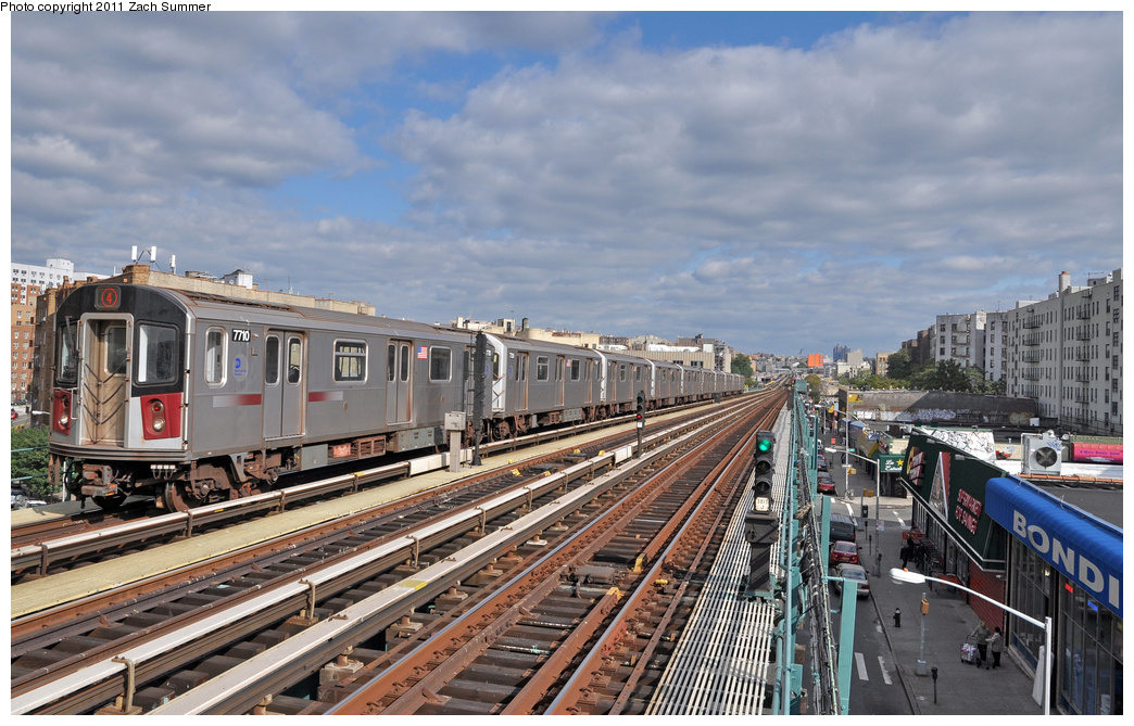 (383k, 1044x669)<br><b>Country:</b> United States<br><b>City:</b> New York<br><b>System:</b> New York City Transit<br><b>Line:</b> IRT Woodlawn Line<br><b>Location:</b> 170th Street<br><b>Route:</b> 4<br><b>Car:</b> R-142A (Option Order, Kawasaki, 2002-2003) 7710 <br><b>Photo by:</b> Zach Summer<br><b>Date:</b> 10/23/2011<br><b>Viewed (this week/total):</b> 1 / 1499