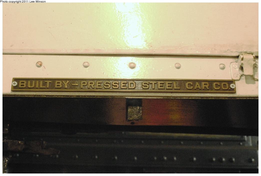 (220k, 1044x703)<br><b>Country:</b> United States<br><b>City:</b> New York<br><b>System:</b> New York City Transit<br><b>Route:</b> Fan Trip<br><b>Car:</b> R-6-1 (Pressed Steel, 1936) 1300 <br><b>Photo by:</b> Lee Winson<br><b>Date:</b> 11/26/2011<br><b>Notes:</b> Builders plate.<br><b>Viewed (this week/total):</b> 0 / 1254