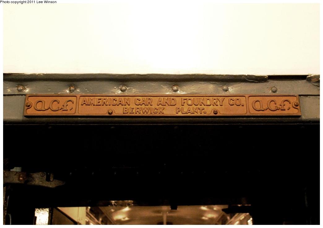 (159k, 1044x736)<br><b>Country:</b> United States<br><b>City:</b> New York<br><b>System:</b> New York City Transit<br><b>Route:</b> Fan Trip<br><b>Car:</b> R-4 (American Car & Foundry, 1932-1933) 401 <br><b>Photo by:</b> Lee Winson<br><b>Date:</b> 11/26/2011<br><b>Notes:</b> Builders plate.<br><b>Viewed (this week/total):</b> 0 / 1177