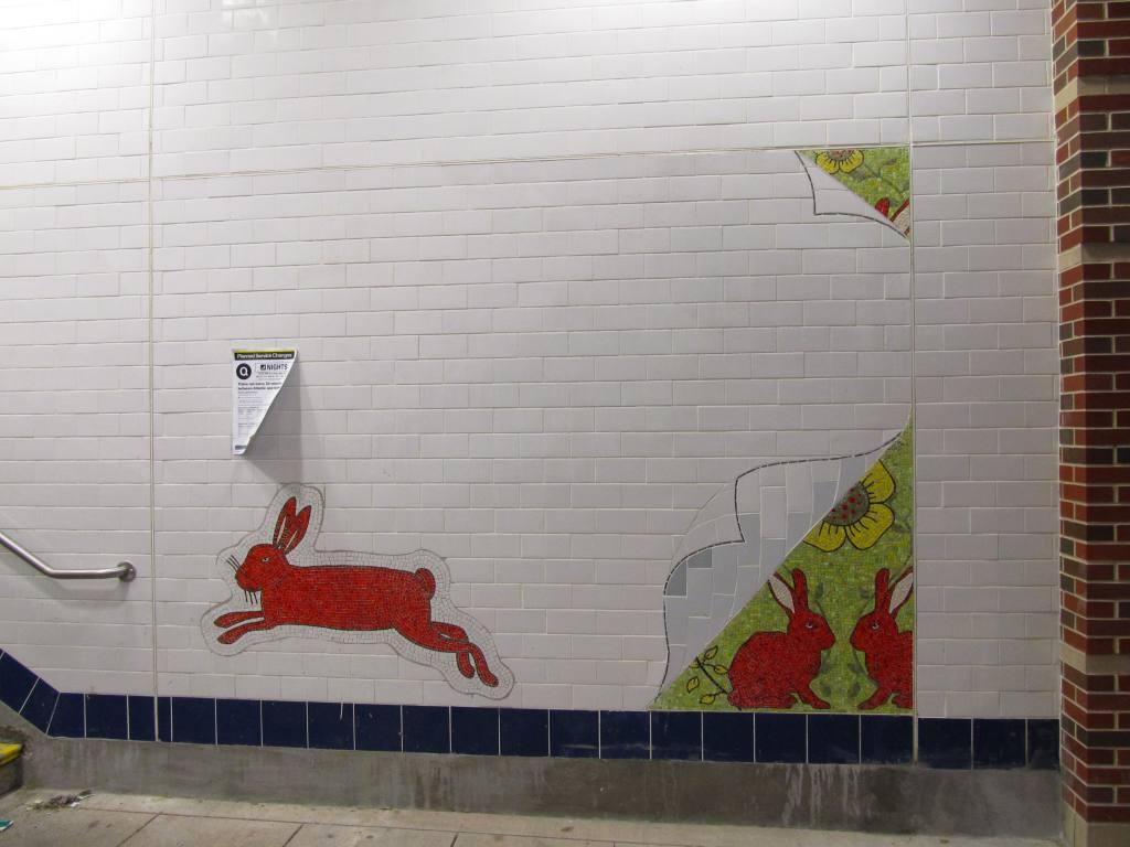 (87k, 1024x768)<br><b>Country:</b> United States<br><b>City:</b> New York<br><b>System:</b> New York City Transit<br><b>Line:</b> BMT Brighton Line<br><b>Location:</b> Avenue M<br><b>Photo by:</b> Robbie Rosenfeld<br><b>Date:</b> 1/18/2012<br><b>Artwork:</b> <i>Hare Apparent</i>, Rita MacDonald, 2011<br><b>Viewed (this week/total):</b> 1 / 1650