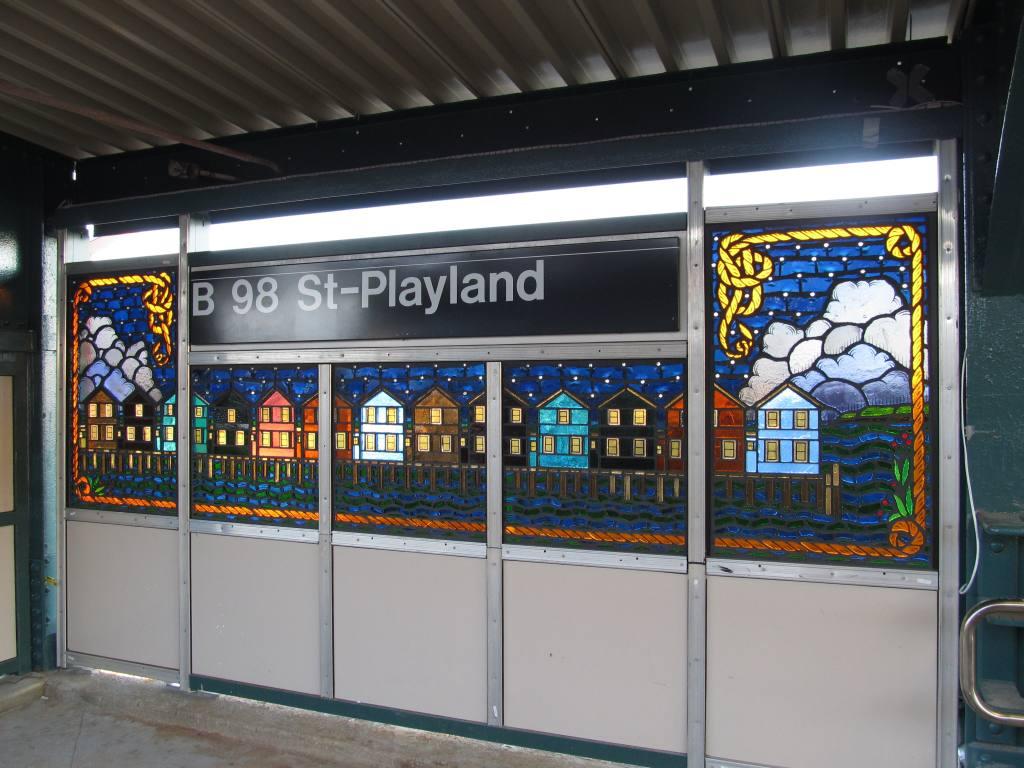 (120k, 1024x768)<br><b>Country:</b> United States<br><b>City:</b> New York<br><b>System:</b> New York City Transit<br><b>Line:</b> IND Rockaway Line<br><b>Location:</b> Beach 98th Street/Playland<br><b>Photo by:</b> Robbie Rosenfeld<br><b>Date:</b> 1/16/2012<br><b>Artwork:</b> <i>Be Good or Be Gone</i>, Duke Riley, 2011<br><b>Viewed (this week/total):</b> 0 / 2475