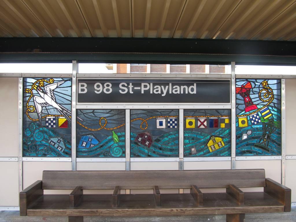 (119k, 1024x768)<br><b>Country:</b> United States<br><b>City:</b> New York<br><b>System:</b> New York City Transit<br><b>Line:</b> IND Rockaway Line<br><b>Location:</b> Beach 98th Street/Playland<br><b>Photo by:</b> Robbie Rosenfeld<br><b>Date:</b> 1/16/2012<br><b>Artwork:</b> <i>Be Good or Be Gone</i>, Duke Riley, 2011<br><b>Viewed (this week/total):</b> 0 / 1889