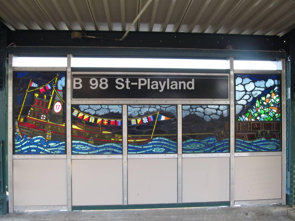 (127k, 1024x768)<br><b>Country:</b> United States<br><b>City:</b> New York<br><b>System:</b> New York City Transit<br><b>Line:</b> IND Rockaway Line<br><b>Location:</b> Beach 98th Street/Playland<br><b>Photo by:</b> Robbie Rosenfeld<br><b>Date:</b> 1/16/2012<br><b>Artwork:</b> <i>Be Good or Be Gone</i>, Duke Riley, 2011<br><b>Viewed (this week/total):</b> 0 / 1769