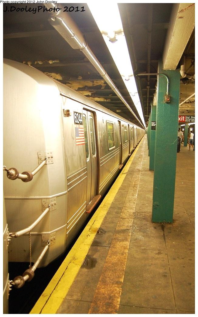(327k, 652x1043)<br><b>Country:</b> United States<br><b>City:</b> New York<br><b>System:</b> New York City Transit<br><b>Line:</b> IND Fulton Street Line<br><b>Location:</b> Hoyt-Schermerhorn Street<br><b>Route:</b> A<br><b>Car:</b> R-46 (Pullman-Standard, 1974-75) 6244 <br><b>Photo by:</b> John Dooley<br><b>Date:</b> 7/22/2011<br><b>Viewed (this week/total):</b> 1 / 1361