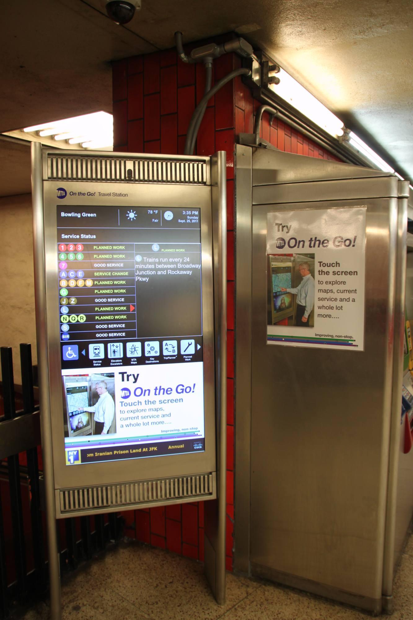 (243k, 1333x2000)<br><b>Country:</b> United States<br><b>City:</b> New York<br><b>System:</b> New York City Transit<br><b>Line:</b> IRT East Side Line<br><b>Location:</b> Bowling Green<br><b>Photo by:</b> Robbie Rosenfeld<br><b>Date:</b> 9/25/2011<br><b>Notes:</b> New On the Go kiosk.<br><b>Viewed (this week/total):</b> 0 / 1459