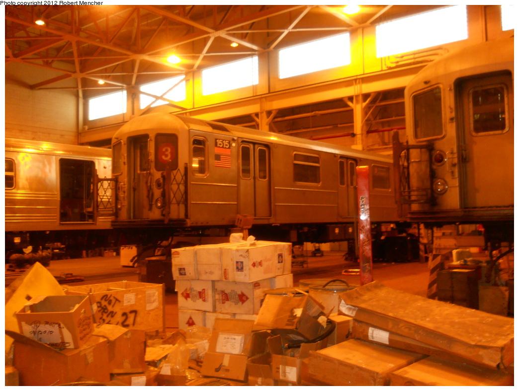 (364k, 1044x788)<br><b>Country:</b> United States<br><b>City:</b> New York<br><b>System:</b> New York City Transit<br><b>Location:</b> Coney Island Shop/Overhaul & Repair Shop<br><b>Car:</b> R-62 (Kawasaki, 1983-1985) 1515 <br><b>Photo by:</b> Robert Mencher<br><b>Date:</b> 2/28/2011<br><b>Viewed (this week/total):</b> 2 / 820